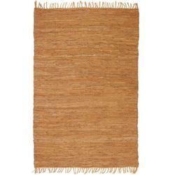 Ręcznie tkany dywanik Chindi, skóra, 80x160 cm, jasnobrązowy