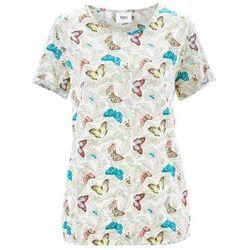 Shirt z krótkim rękawem, z przędzy mieszankowej bonprix biel wełny z nadrukiem