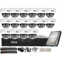 Kamery przemysłowe, Monitoring z dźwiękiem kasy stacji paliw sklepu BCS Point Rejestrator 16kan. IP + 16x Kamera BCS-P-212RWSA + Akcesoria