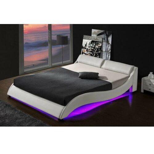 Łóżka, ŁÓŻKO TAPICEROWANE DO SYPIALNI 140x200 868 LED BIAŁE
