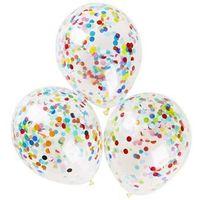 Balony, Balony przezroczyste z konfetti - 40 cm - 5 szt.
