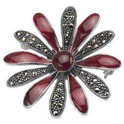 Srebrna broszka z markazytami kwiat