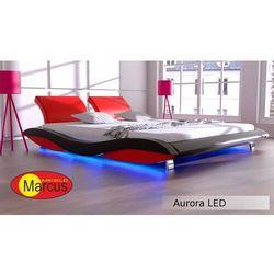 Nowoczesne łóżko tapicerowane AURORA LED RGB - skóra ekologiczna