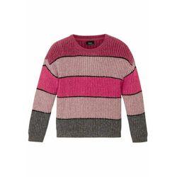 Sweter dziewczęcy z połyskującym paskiem bonprix jeżynowo-szary w paski