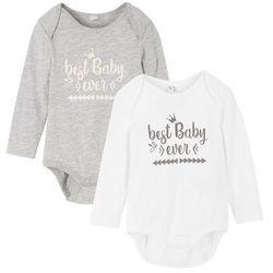 Body niemowlęce z długim rękawem (2 szt.), bawełna organiczna bonprix jasnoszary melanż - biały