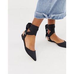 ASOS DESIGN Louisa tie leg pointed ballet flats in black - Black