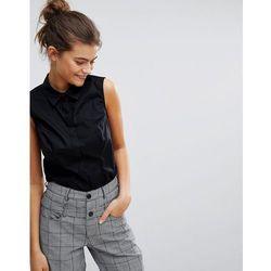 ASOS DESIGN fuller bust sleeveless shirt in stretch cotton - Black