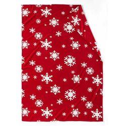 Miękki koc z nadrukiem w płatki śniegu bonprix czerwony