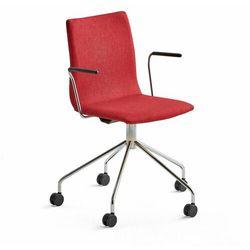 Krzesło konferencyjne OTTAWA, na kółkach, podłokietniki, czerwona tkanina, chrom