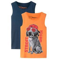 Koszulka bez rękawów (2 szt.) bonprix pomarańczowy z nadrukiem + ciemnoniebieski