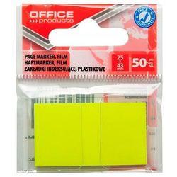 Zakładki indeksujące OFFICE PRODUCTS, PP, 25x43mm, 1x50 kart., zawieszka, żółte