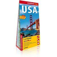 Mapy i atlasy turystyczne, USA laminowana mapa samochodowo-turystyczna 1:4 750 000 - Praca zbiorowa (opr. broszurowa)
