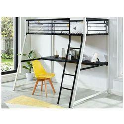 Łóżko antresola malicia - miejsce do spania 90 × 190 - wbudowane biurko narożne - kolor czarny i biały marki Vente-unique