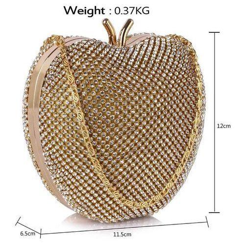 Torebki, Niezwykła torebka wizytowa w kształcie jabłuszka złota - złoty