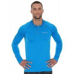 Koszulka męska polo Brubeck Prestige z długim rękawem LS10620 Niebieski