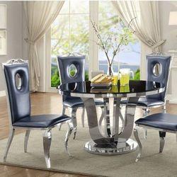 Stół glamour Emily okrągły - stal szlachetna blat szklany nowoczesny