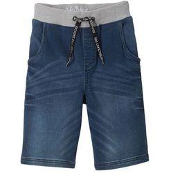 """Bermudy z miękkiej dzianiny dresowej w optyce dżinsu, z wygodnym paskiem w talii bonprix niebieski """"stone"""""""