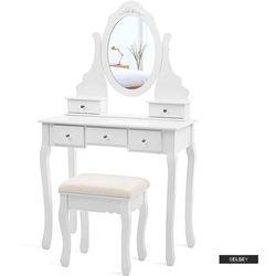 SELSEY Toaletka Shalow 80 cm z owalnym lustrem i taboretem