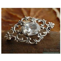 AGIRA - srebrna broszka z kryształem Swarovskiego