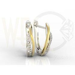 Kolczyki z białego i żółtego złota model LPK-73BZ z diamentami 0,09 ct