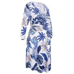 Sukienka shirtowa dla ciężarnych i karmiących bonprix biało-niebieski z nadrukiem