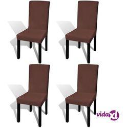 vidaXL Elastyczne pokrowce na krzesła w prostym stylu, 4 szt., brązowe Darmowa wysyłka i zwroty