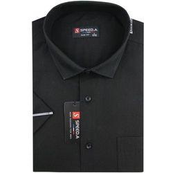 Koszula Męska Speed.A gładka czarna SLIM FIT na krótki rękaw K678