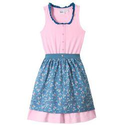 Sukienka shirtowa w ludowym stylu, z fartuchem (2 części) bonprix jasnoróżowo-niebieski