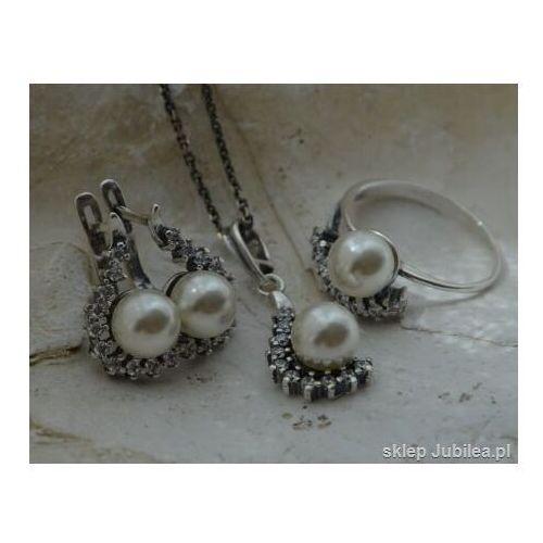 Komplety biżuterii, Srebrny komplet z perłą i cyrkoniami SENTOSA