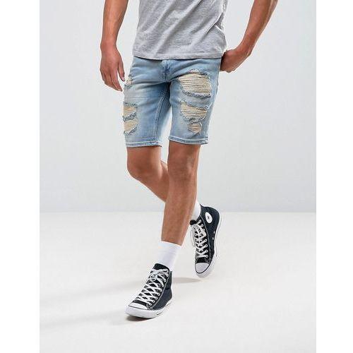 Pozostała odzież męska, ASOS Denim Shorts In Slim Mid Wash Blue With Heavy Rip And Repair - Blue