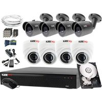 Zestawy monitoringowe, Dopasowany system monitoringu: Rejestrator LV-XVR84N, 8 Kamer zewnętrzne LV-AL30MT wewnętrzne LV-AL1M2FDPWH, Dysk 1TB, Akcesoria