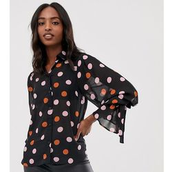 ASOS DESIGN Tall sheer long sleeve shirt with tie cuffs in spot print - Multi