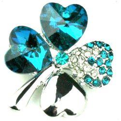 Czterolistna koniczynka srebrna. Swarovski Crystal niebieski