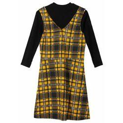 Shirt dziewczęcy z golfem + sukienka (2 części) bonprix czarno-żółty szafranowy -biały