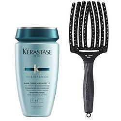 Kérastase Force Architecte Bain and Finger Brush | Zestaw do włosów: kąpiel odbudowująca 250ml + szczotka do rozczesywania i masażu, rozmiar L