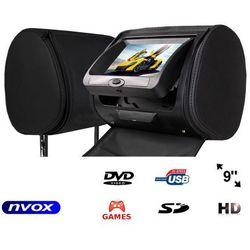 """NVOX HVR9823D BL Zagłówek multimedialny z ekranem 9"""" w rozdzielczości HD z DVD GRAMI USB SD oraz maskownicą"""
