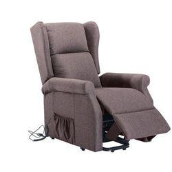 Fotel LAUGAR podnoszony elektrycznie z tkaniny – Kolor czekoladowy