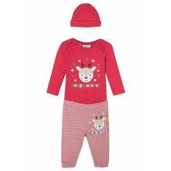 Body niemowlęce z długim rękawem + spodnie + czapka (kompl. 3-częściowy), bawełna organiczna bonprix czerwono-biel wełny
