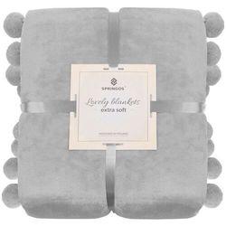 Narzuta na łóżko z dużymi pomponami, pled 200x220 cm koc na kanapę jasny szary