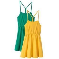 Sukienka letnia dziewczęca (2 szt. w opak.) bonprix żółty + zielony miętowy
