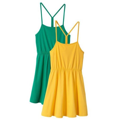 Sukienki dla dzieci, Sukienka letnia dziewczęca (2 szt. w opak.) bonprix żółty + zielony miętowy