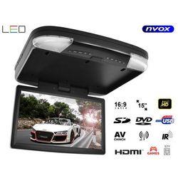 """Monitor samochodowy podwieszany podsufitowy LCD 15"""" cali DVD HDMI USB SD AV GRY"""