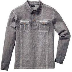 Shirt polo z długim rękawem Regular Fit bonprix dymny szary