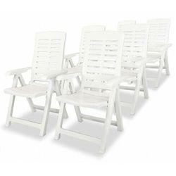 vidaXL Rozkładane krzesła ogrodowe, 6 szt., plastikowe, białe