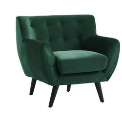 Fotel SERTI z weluru — kolor świerkowa zieleń