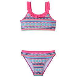 Bikini dziewczęce (2 części) bonprix różowy wzorzysty