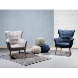 Fotel granatowy - fotel wypoczynkowy - do salonu - tapicerowany - ANGEN