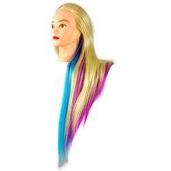 Główka treningowa fryzjerska Iza włos termiczny 90cm złoty różowy niebieski