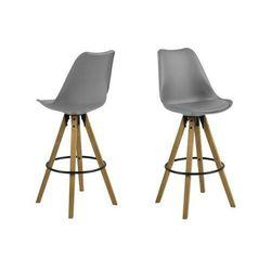 ACTONA stołek barowy ekoskóra/PP DIMA - szary, nogi drewniane
