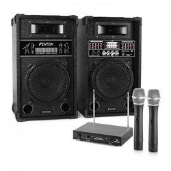 """Zestaw karaoke """"STAR-8"""" aktywny zestaw kolumn nagłośnieniowych   2-kanałowy bezprzewodowy zestaw mikrofonowy VHF"""
